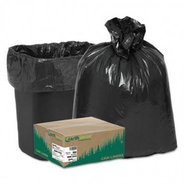 """Linear Low Density Recycled Can Liners, 16 Gal, 0.85 Mil, 24"""" X 33"""", Black, 500/carton"""