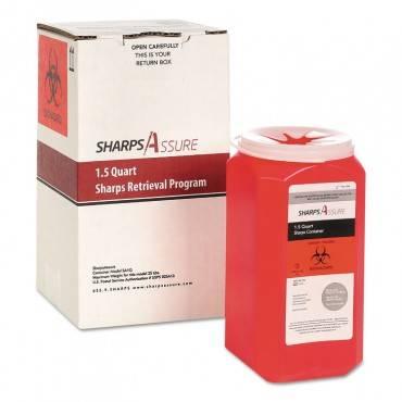Trustmedical SHARPS RETRIEVAL PROGRAM CONTAINERS, 1.5 QT, PLASTIC, RED SC1Q424A1Q 1 Box