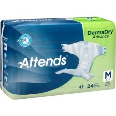 Adult Incontinent Brief Attends DermaDry Tab Closure Medium Disposable Moderate Absorbency Qty 96