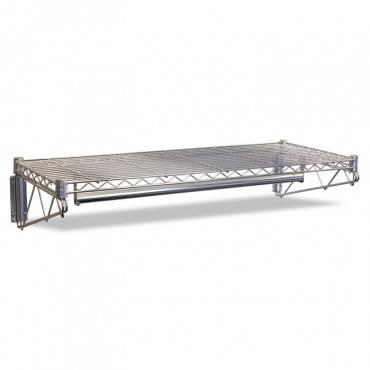 Steel Wire Wall Shelf Rack, 48w X 18d X 7-1/2h, Silver