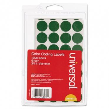 """Universal  Self-Adhesive Removable Color-Coding Labels, 3/4"""" Dia, Green, 1008/Pack"""