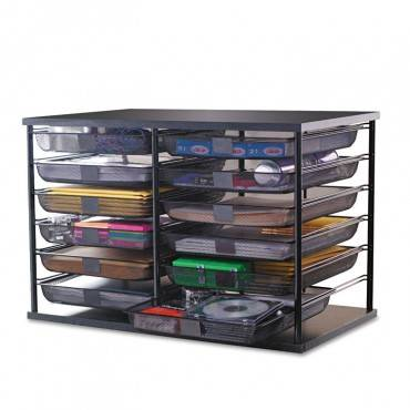 """12-Compartment Organizer With Mesh Drawers, 23 4/5"""" X 15 9/10"""" X 15 2/5"""", Black"""