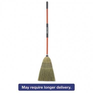 "Large Corn Broom, Corn Bristles, 16 1/2"" Bristles, 55 1/2"", Orange/black"