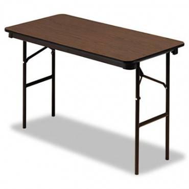 Economy Wood Laminate Folding Table, Rectangular, 48w X 24d X 29h, Walnut