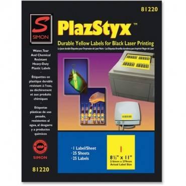 Simon SJ Paper PlazStyx Durable Laser Printing Labels (PK/PACKAGE)