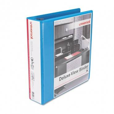 """Deluxe Round Ring View Binder, 2"""" Capacity, Light Blue"""
