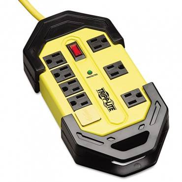Safety Surge Suppressor, 8 Outlets, 12 Ft Cord, 1500 Joules, Yellow/black, Osha