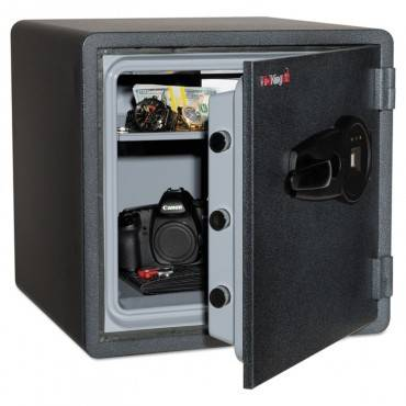 One Hour Fire And Water Safe W/biometric Fingerprint Lock, 1.23 Cu. Ft, Graphite
