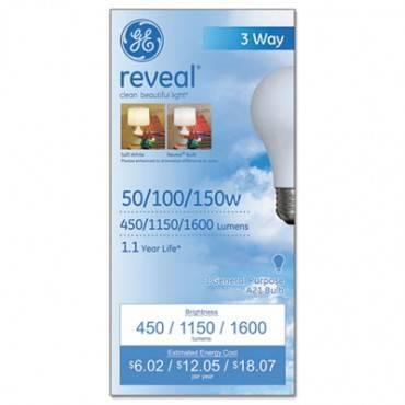 Ge Three-Way Incandescent Globe Bulb, 50/100/150 Watts