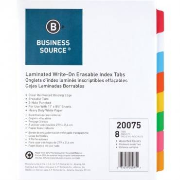 Business Source Laminated Write-On Tab Indexes (ST/SET)