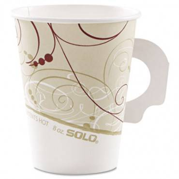 Hot Cups, Symphony Design, 8oz, W/handle, Beige, 50/pack