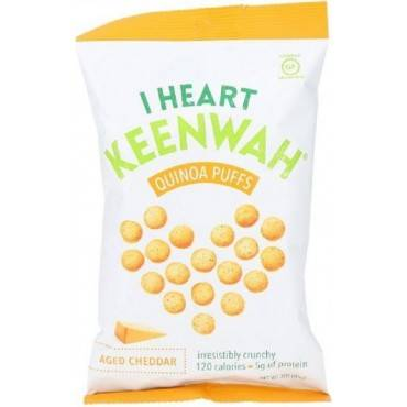 I Heart Keenwah Quinoa Puffs - Aged Cheddar - Case Of 12 - 3 Oz.