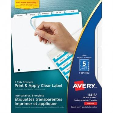 Avery® Index Maker Print & Apply Clear Label Dividers with White Tabs (ST/SET)