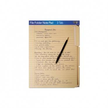File Folder Note Pad, 1/3-cut Tabs, Letter Size, Manila