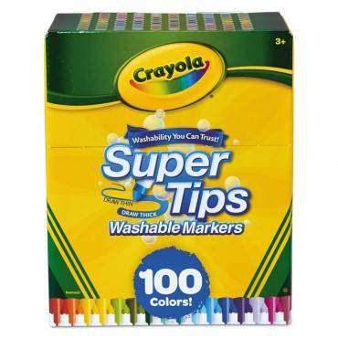 Crayola  SUPER TIPS WASHABLE MARKERS, SUPER FINE TIP, ASSORTED, 100/SET 585100 1 Set