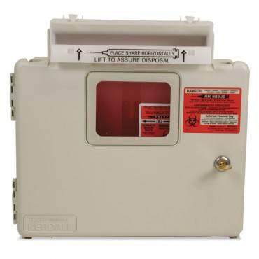 Locking Wall Mount Sharps Cabinet System, 5 Qt, 13 X 5 X 13, Beige