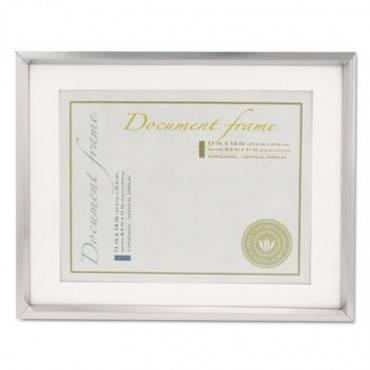 Universal  Plastic Document Frame W/Mat, 11 X 14 & 8 1/2 X 11 Inserts, Metallic Silver