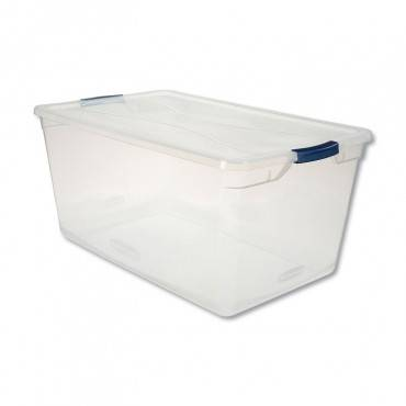 Rubbermaid  CLEVER STORE BASIC LATCH-LID CONTAINER, 17 3/4W X 29D X 13 1/4H, 95QT, CLEAR RMCC950001 1 Each