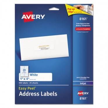 Easy Peel Mailing Address Labels, Inkjet, 1 X 4, White, 500/pack