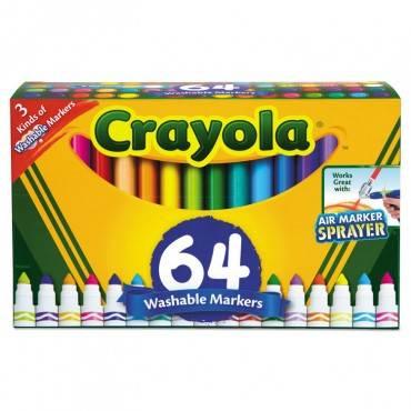 Crayola  BROAD LINE WASHABLE MARKERS, BROADLINE TIP, ASSORTED, 64/SET 588180 1 Set