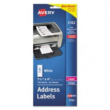 Mini-Sheets Address Labels, 1 X 2 5/8, White, 200/pack