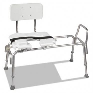 """Heavy-Duty Sliding Transfer Bench With Cut-Out Seat, 19-23""""h, 15 X 19 Seat"""