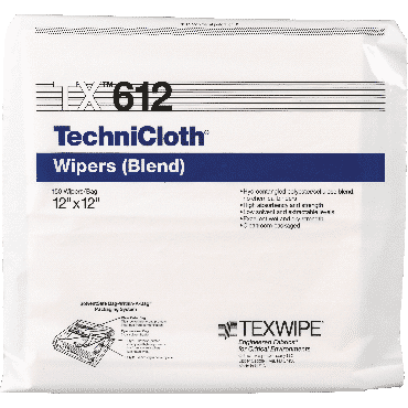 """Technicloth Cleanroom Dry Wiper, 12"""" X 12"""" Part No. Tx612 (150/package)"""