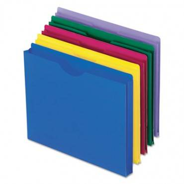 Poly File Jackets, Straight Tab, Letter Size, Assorted Colors, 10/pack