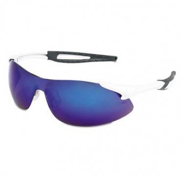 Inertia Safety Glasses, White Frame, Blue Diamond Mirror Lens, One Size