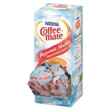 Liquid Coffee Creamer, Peppermint Mocha, 0.38 Oz Mini Cups, 50/box, 4 Boxes/carton, 200 Total/carton