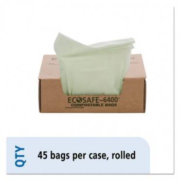 Ecosafe-6400 Compostable Compost Bags, 13gal, .85mil, 24 X 30, Green, 45/box